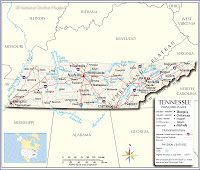 Map of the U. State of Tennessee - Nations Online Project State Of Tennessee, Tennessee River, Tennessee Vacation, Cumberland River, North America Map, Las Vegas City, Jefferson City, Us Map, West Virginia