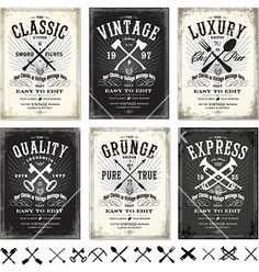 Set of vintage design elements vector grunge posters  by vectormikes on VectorStock®