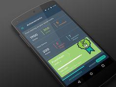 Android Nexus 5 achievements designed by Tori_Tao🤘. Mobile App Ui, Mobile App Design, User Interface Design, Ui Ux Design, Ui Web, Material Design, Android, Social Media, Concept