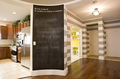 The chalkboard msg is funny, but I LOVE the home design - recessed ceiling, striped walls, hardwood :) Chalk Wall, Chalkboard Paint, Chalk Board, Blackboard Wall, Chalk Paint, Magnetic Chalkboard, Large Chalkboard, Chalkboard Ideas, Chalkboard Sayings