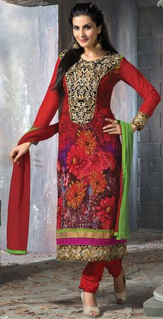 USD 35.16 Red Faux Georgette Churidar Suit 42657