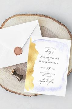 This faux foil wedding invitation has a beautiful transparent watercolor design style, features gentle blue watercolor backgrounds with gold faux foil elegant and unique border, combined with a handwritten headline script. A great fit for your modern beach wedding color bland and part of a wedding stationery invites cards set with the same design that you can edit and personalize. set of #beachwedding #luxurywedding