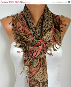 BIG SALE - 50% OFF - Paisley Scarf   *   swarovski
