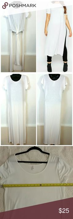 White maxi t-shirt New without tags White maxi T-shirt with slits on both sides. They run small. Has some stretch. Sizes XXL and XXXL. Size XXL may fit a size M & size XXXL may fit a Large DD62717599 Tops Tees - Short Sleeve
