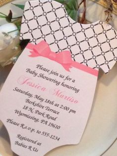Lattice Baby Shower Invitation for Girl Elegant Bow Sash Bow Color Can Change $1.10 by RSVP Custom Creations