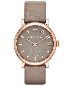 Marc by Marc Jacobs Watch, Women's Baker Gray Textured Leather Strap 37mm MBM1266 - First @ Macy's! - Marc by Marc Jacobs - Jewelry & Watche...