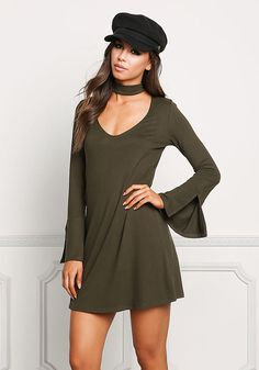 Olive Choker Cut Out Bell Sleeve Shift Dress