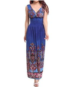 Lingswallow Womens Long Full Length Sexy Bohemian Summer Sleeveless Vneck Beach Dress >>> To view further for this item, visit the image link.