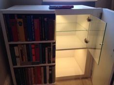 Display case with false bookcase doors