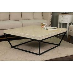 "Bostwick White Square ""Coffee Table"" Living Room Accent Furniture Lounge Home"