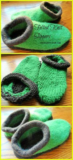 Felting 101: How to Felt Knitted Slippers | This Scattered Life - http://www.thisscatteredlife.com/felting-101-how-to-felt-knitted-slippers/