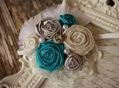 Turquoise HEADBAND-- Turquoise Hair Clips--Vintage headbands-vintage head band-Rosette Headbands--Fabric Flower Headbands-Photoprops. $15.99, via Etsy.