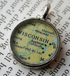 OshKosh Wisconsin Map Pendant by ChellasCollection on Etsy
