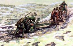 Regio Esercito - Artiglieri Italiani in Russia, mentre trasportano una mitragliera contraerei/controcarro.