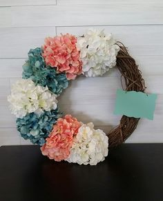 Grapevine Wreath with Flowers and Sign Homemade Wreaths, Grapevine Wreath, Grape Vines, Floral Wreath, Signs, Spring, Flowers, Floral Crown, Vineyard Vines