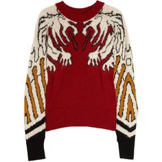 Carven Gargoyle knitted intarsia sweater (£242) ❤ liked on Polyvore featuring tops, sweaters, shirts, outerwear, round neck top, carven sweater, carven shirt, shirt sweater and red sweater