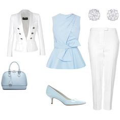 A fashion look from October 2014 featuring Prabal Gurung blouses, Balmain blazers and Topshop capri. Browse and shop related looks.