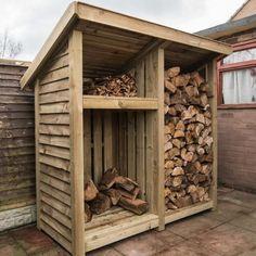 Wood storage shed. 2 bay with kindling shelf Outdoor Firewood Rack, Firewood Shed, Firewood Storage, Log Shed, Pallet Shed Plans, Wood Storage Sheds, Wood Storage Rack, Outdoor Storage Sheds, Backyard Sheds