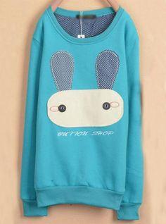 Sky Blue Rabbit Cartoon Fleece Sweatshirt$39.00