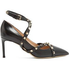 Valentino Studwrap leather pumps ($1,045) ❤ liked on Polyvore featuring shoes, pumps, black leather stilettos, black strap pumps, black strappy stilettos, high heel stilettos and black strappy shoes