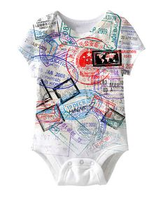 Take a look at this White & Red Passport Stamp Bodysuit by American Classics on #zulily today!