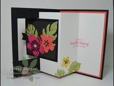 The square panel pulls open an accordion fold insert to reveal the greeting - featuring Stampin' Up! Botanical Blooms stamp set, Botanical Builder framelits,...