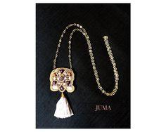 ARCADIA Collana lunga ricamata a mano in tecnica soutache con pietre dure, perle e cristalli by StudioJUMA on Etsy