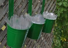 hanging buckets of cutlery for outside party