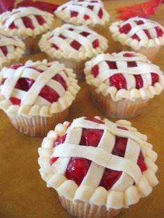 Cupcakes decorated like mini pies.