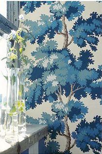 my love of wallpaper knows no bounds / sandberg raphael Dark Blue Wallpaper, Blue Wallpapers, Fabric Wallpaper, Wall Wallpaper, Swedish Wallpaper, Happy Wallpaper, Painted Wallpaper, Forest Wallpaper, Botanical Wallpaper