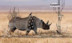 tribal rhino doodle