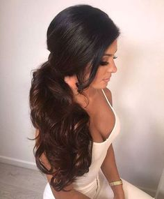 Best wavy ponytail hairstyles for girls. Top hairstyle for curly hair. Side Ponytail Hairstyles, Wavy Ponytail, Elegant Ponytail, Bride Hairstyles, Side Ponytails, Perfect Ponytail, Beach Hairstyles, Headband Hairstyles, Hairstyles Haircuts