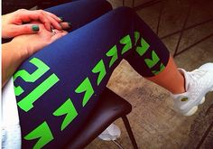Seattle Seahawks inspired yoga pants. PREORDER by SeattleFashion