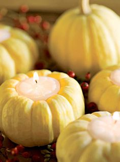 Baby Pumpkin Tea Lights  Here's an easy way to add a little fall ambiance, carve out the center of a mini pumpkin and use it as a tea light holder. It won't last too long but the immediate effect is charming.   via Factory Direct Craft