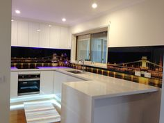 Printed glass splash back for kitchen Created and installed by Seein. Printed Glass Splashbacks, Kitchen Ideas, Homes, Table, Prints, Furniture, Home Decor, Houses, Decoration Home
