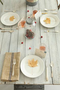 Farm-style kitchen table from Postcards and Pretties: {Table Pretties} Light & Airy Autumn Decor