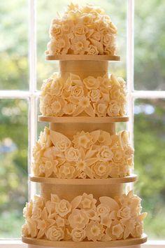 Flower Bombe Four Tier Wedding Cake