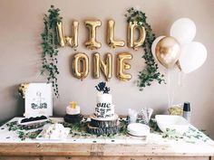 """""""WILD ONE letter balloons - Balloon bouquet of 3 gold & 3 white - White Straw – 8 inch. Wild One party decorations. Wild One birthday. Wild one decor. First birthday party ideas. First birthday boys. 1 Year Old Birthday Party, Boys First Birthday Party Ideas, Baby Boy First Birthday, Boy Birthday Parties, 1st Birthday Party Ideas For Boys, Baby Birthday Themes, Simple First Birthday, Birthday Event Ideas, Bday Girl"""