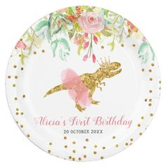 Pink Girl Dinosaur Paper Party Plate