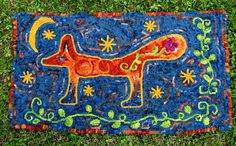 Nighttime Garden Fox hooked rug by Dulcy Stewart I like the background~Em Textile Texture, Textile Art, Hook Punch, Fox Illustration, Rug Hooking Patterns, Rug Inspiration, Hand Hooked Rugs, Floor Cloth, Rag Rugs