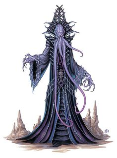 Mind Flayer, Ulitharid Roughly one in a hundred larval mind flayers does not undergo ceremorphosis as normal, but instead develops into a much larger and more powerful creature known as a noble. Fantasy Races, Fantasy Rpg, Dark Fantasy Art, Fantasy Artwork, Forgotten Realms, Cthulhu, O Kraken, Aliens, Mind Flayer