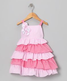 This Gidget Loves Milo Pink Gingham Ruffle Dress - Infant & Toddler by Gidget Loves Milo is perfect! #zulilyfinds