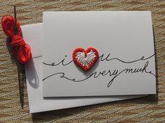 I heart u Valentine card crochet heart romantic card by Mylittlejj