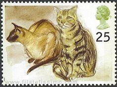 Puskas (Siamese) and Tigger (tabby)   British postage stamp 1995   art by Elizabeth Blackadder