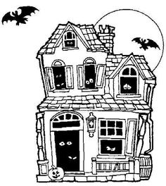 Haunted House Halloween Coloring Pages For Kids Free Printable