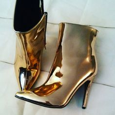 Rose Gold Mettalic Bootie,size 6 on Mercari Rose Gold Shoes Heels, Rose Gold Boots, Booty, Shoes, Swag