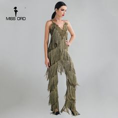 Great Price $38.81, Buy MISSORD 2017 Sexy sleeveless V-NECK halter lace tassel jumpsuit FT4661-2