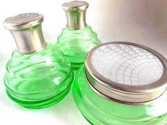 20's Green Glass Dresser Set Guilloché Silver Lids by JewlsinBloom