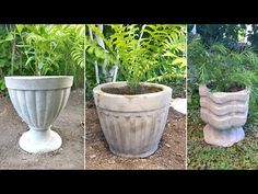 Video Tutorial: Making Cement Pots for Garden Cement Art, Concrete Crafts, Concrete Projects, Diy Cement Planters, Garden Planters, Papercrete, Plastic Pots, Garden Crafts, Backyard Landscaping