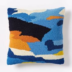 Looped Ink Blot Pillow Cover - Royal Blue | west elm